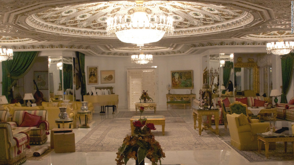 "The interior of the former presidential palace of deposed Tunisian President Zine El Abidine Ben Ali, who fled the country with his family in January 2011 amid a popular revolution. The palace is in Sidi Dhrif, in a seafront suburb of  capital city, Tunis. Like many Tunisians, journalist Youssef Gaigi had never seen images of the palace before visiting it to report on the state auction of the former dictator's confiscated belongings. The auction takes place Sunday. He told CNN: ""It was full of extravagance and extreme luxury and bad taste. All these signs of power ... Nobody could afford to have such things in Tunisia, unless they were the president -- and not just any president, but a dictator."""