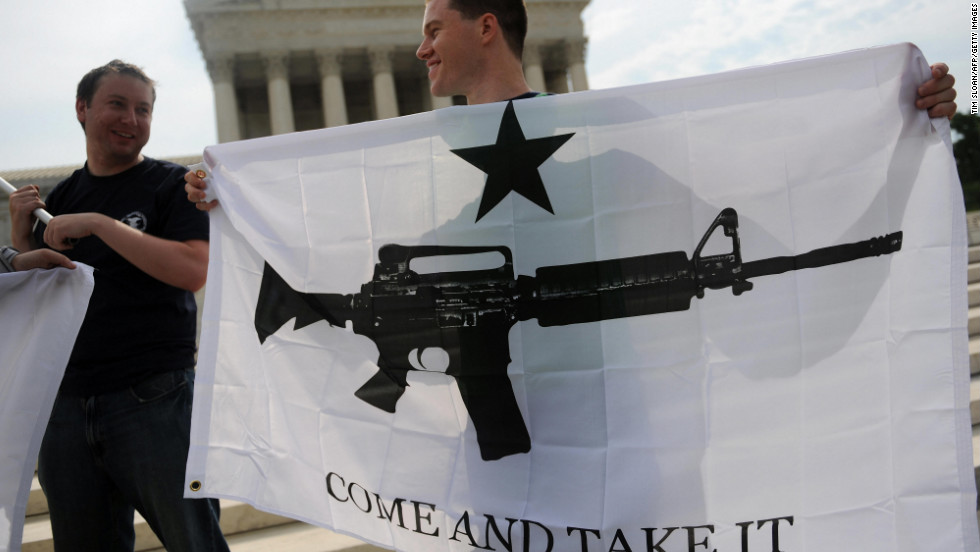 "Gun rights activists celebrate a 2008 U.S. Supreme Court decision on whether the Constitution's Second Amendment right to ""keep and bear arms"" is fundamentally an individual or collective right. IReporter INGunowner's reasons for owning his AK-47 include his ""fascination with the Second Amendment, which I view as a backstop protector of freedom."""
