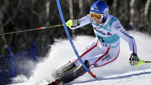 Marlies Schild in action during a World Cup slalom race earlier this season in Colorado.