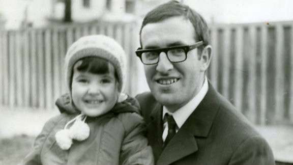Kira Volvovksy with her father, Leonid (who became Ari, after moving to Israel), in 1971.