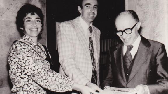 Adele and Joel Sandberg present their book of refusenik case histories to Israel's Prime Minister Menachem Begin, 1978.