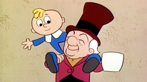 Scrooge and Tiny Tim.