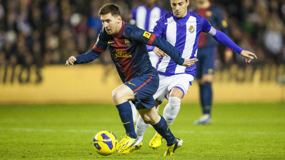 Lionel Messi ends the year on the front foot, scoring his 91st goal of 2012 in Barcelona