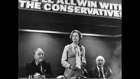 Thatcher addresses Conservatives at the start of the 1979 election campaign. William Whitelaw, at her right, later became home secretary and deputy prime minister under Thatcher.