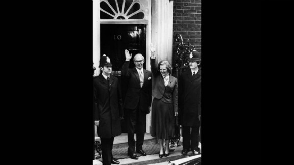 Thatcher, becoming the first female prime minister of a European country, stands with her husband, Denis, outside 10 Downing Street in May 1979 after her party