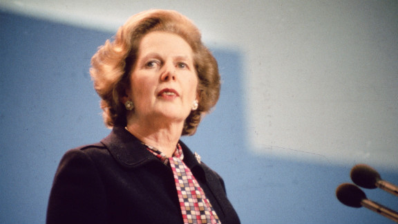 Thatcher addresses a Conservative Party conference in Brighton, England, following an IRA bombing of the Grand Hotel, where many delegates were staying, in October 1984.