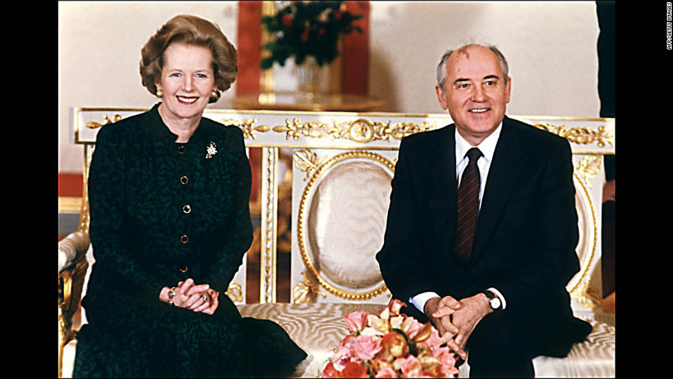 Thatcher and Soviet leader Mikhail Gorbachev at the start of talks at the Kremlin in Moscow in March 1987.
