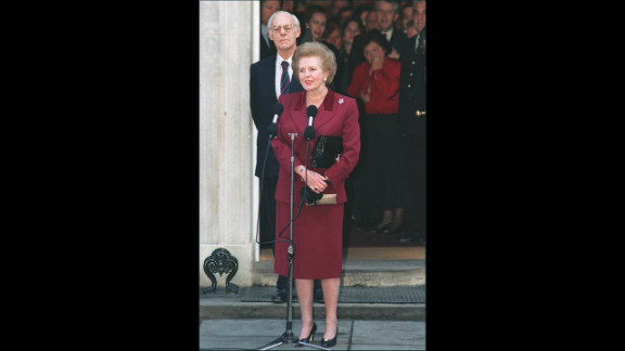 Thatcher, flanked by her husband Denis, addresses the press for the last time at 10 Downing Street before her resignation as prime minister in November 1990 after an internal leadership struggle among Conservatives.