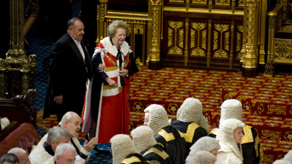 Thatcher attends the House of Lords during the state opening of Parliament in May 2010.
