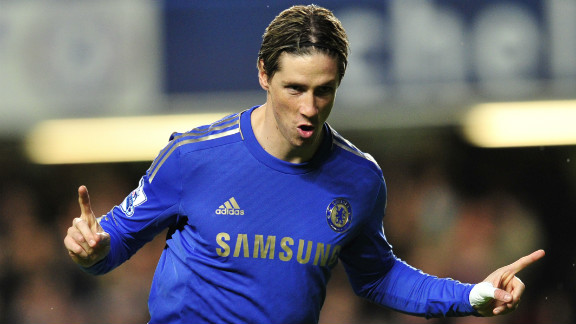 Fernando Torres headed Chelsea in front  against  Aston Villa with his 14th goal of the season. The Spaniard