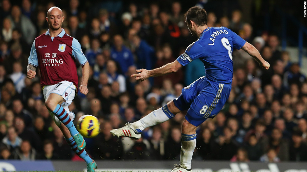 Frank Lampard became Chelsea's all-time leading scorer in top-flight football after hitting his 130th goal on his 500th league start. Lampard's drive gave the home side a 4-0 lead as Villa began to wilt.