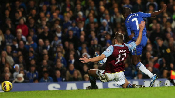 Ramires came off the bench to score twice as Chelsea eventually declared on eight. It could have been worse for Villa as Lucas Piazon missed a penalty. Eden Hazard and Oscar were also on target.
