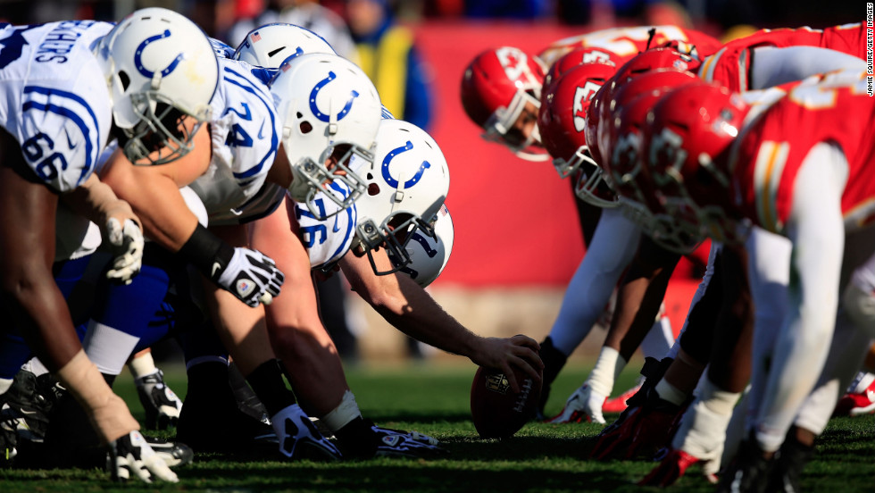 The Colts line up against the Chiefs on Sunday.