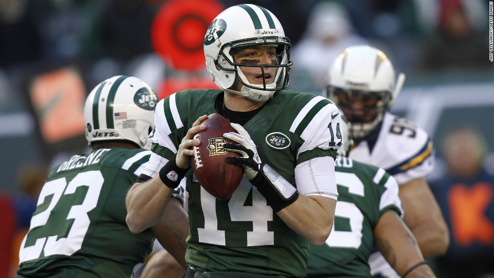 Greg McElroy of the New York Jets looks for an open man against the San Diego Chargers at MetLife Stadium on Sunday in East Rutherford, New Jersey.