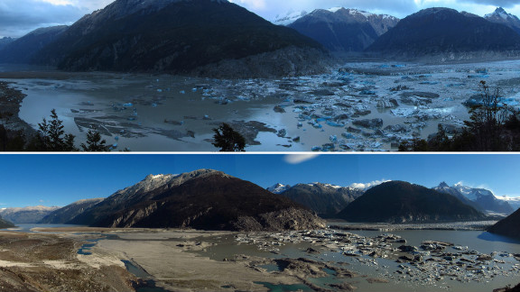 Lake Cachet II in Aysen, Chilean Patagonia, disappeared because of rising temperatures driven by climate change, experts say.