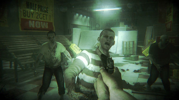 """Zombies overrun a supermarket in this scene from """"ZombiU,"""" a dark tale of survival during a zombie outbreak in London."""