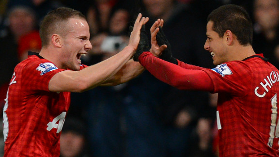 Javier Hernandez (right) celebrates with Tom Cleverley after scoring Manchester United