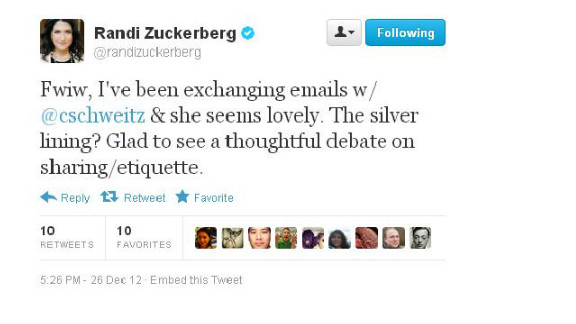 """No hard feelings? Randi Zuckerberg tweeted that a photo flap has spurred """"thoughtful debate"""" about online sharing."""