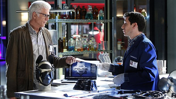 """Ted Danson began starring on CBS' """"CSI: Crime Scene Investigation"""" in 2011. He's pictured here with Jon Wellner, who plays Henry Andrews on the show."""