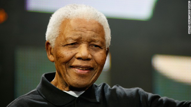 Nelson Mandela poses onstage during the 46664 Concert In Celebration Of Nelson Mandela's Life held at Hyde Park on June 27, 2008 in London, England.