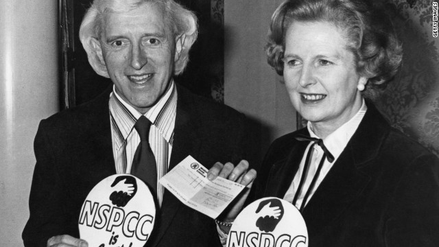 Former British Prime Minister Margaret Thatcher pictured in 1980 with TV host Jimmy Savile.