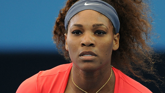 Serena Williams on her way to a convincing first round victory at the Brisbane International.