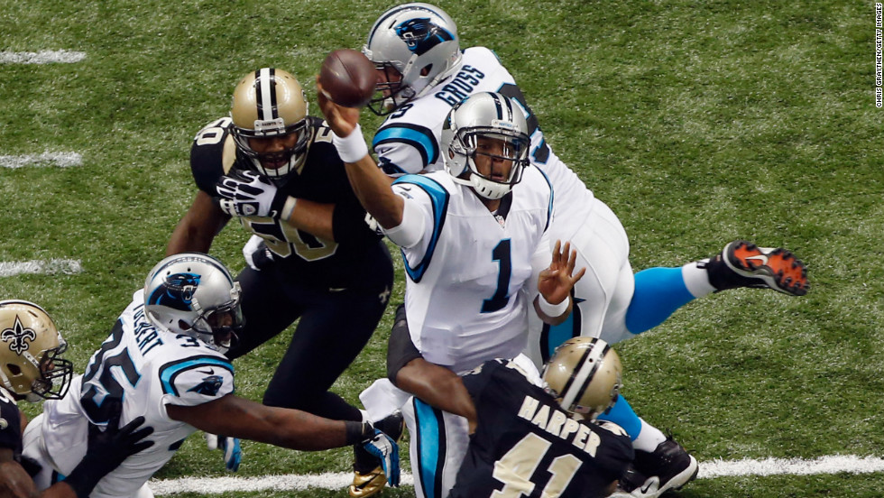 Cam Newton of the Carolina Panthers throws the ball against the New Orleans Saints on Sunday.