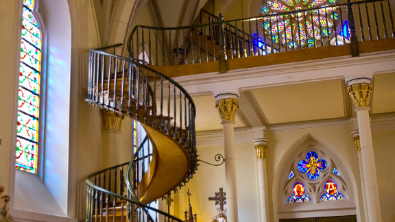 The Loretto Chapel in Santa Fe, New Mexico. The Gothic Revival church