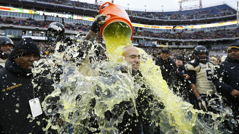 Vanderbilt Commodores Head Coach James Franklin gets showered with Gatorade at the end of the game against the North Carolina State Wolfpack on December 31. Vanderbilt won 38-24.