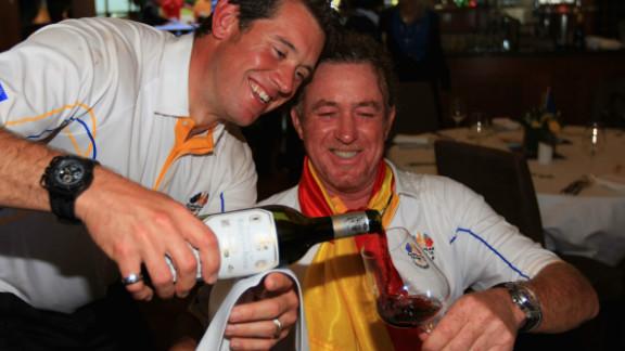 Jimenez and Ryder Cup teammate Lee Westwood toast Europe