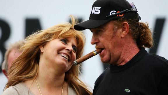 Jimenez with ex-wife Monserrat after winning the European Tour