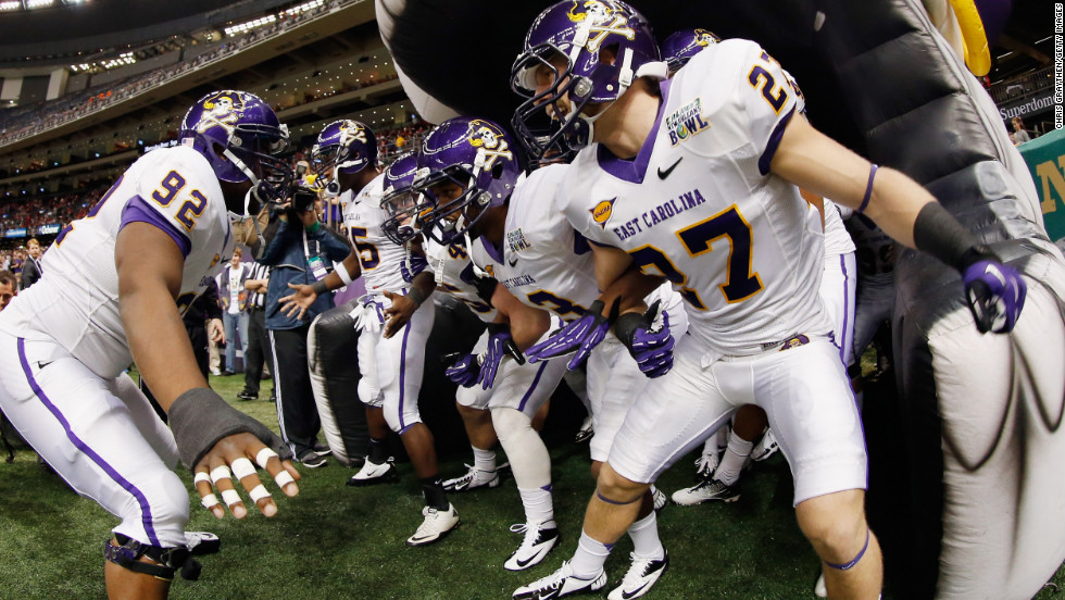 The East Carolina Pirates take the field during the R+L Carriers New Orleans Bowl at the Mercedes-Benz Superdome on December 22 in New Orleans.