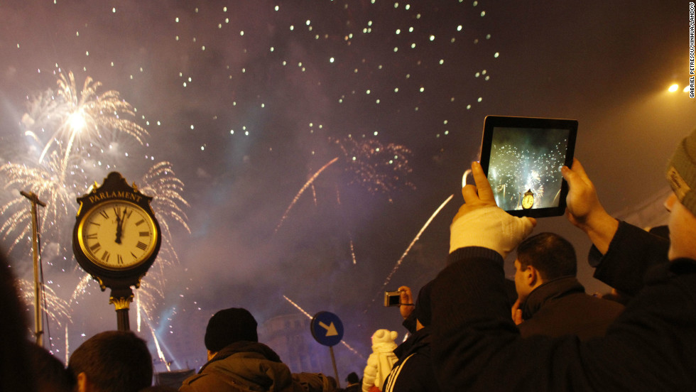People celebrate the new year in Bucharest, Romania.
