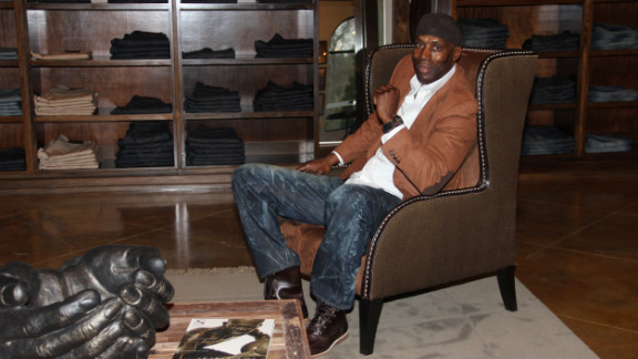 Former NBA player Kevin Willis at his retail store in Atlanta that sells specialty clothing to tall men.