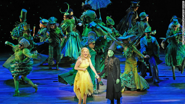 "Lucy Durack as Glinda and Amanda Harrison as Elphaba in ""Wicked"" in Sydney in 2009."