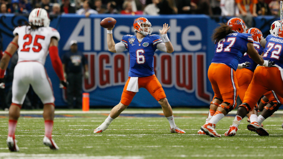 Jeff Driskel of the Florida Gators looks to pass against the Louisville Cardinals during the first quarter on January 2.