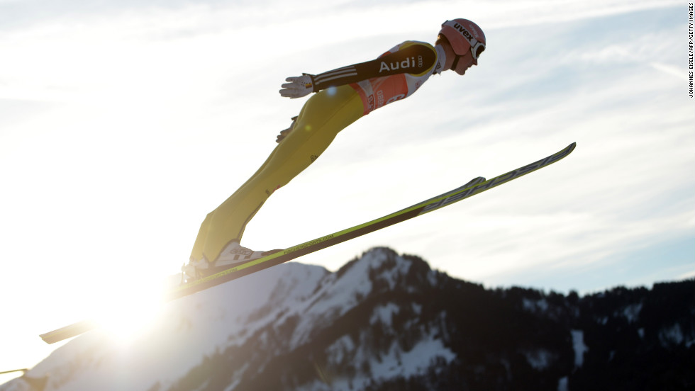 German Severin Freund jumps during training on Saturday, December 29.