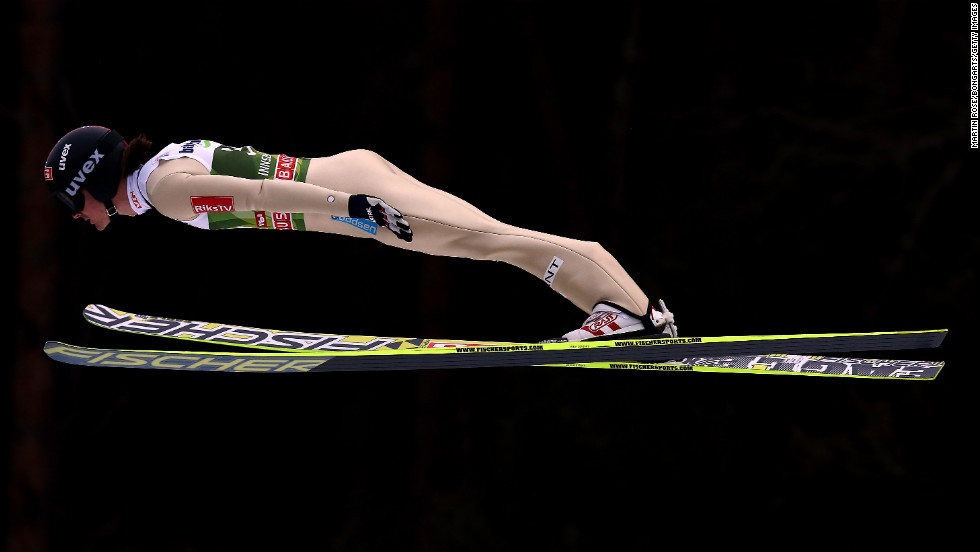 Tom Hilde of Norway gets near horizontal during the qualification round on January 3.