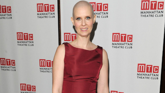 """Cynthia Nixon committed for her role as a cancer patient in the Broadway play """"Wit."""" """"I thought it was kind of gonna be no muss-no fuss,"""" the actress told Kelly Ripa on """"Live With Kelly,"""" """"but I have to shave it every day! It's got kind of a 5 o'clock shadow, and you don't want to go on with that."""""""