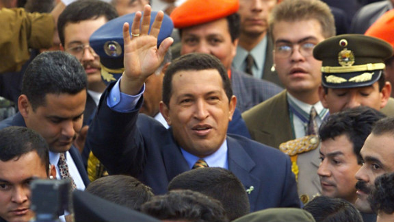 Venezuelan president-elect Chavez visits Bogota, Colombia, on December 18, 1998. On December 6, Chavez had been elected the youngest president in Venezuela history.