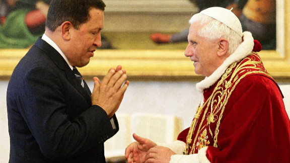 Chavez meets with Pope Benedict XVI at his private library on May 11, 2006, in Vatican City.