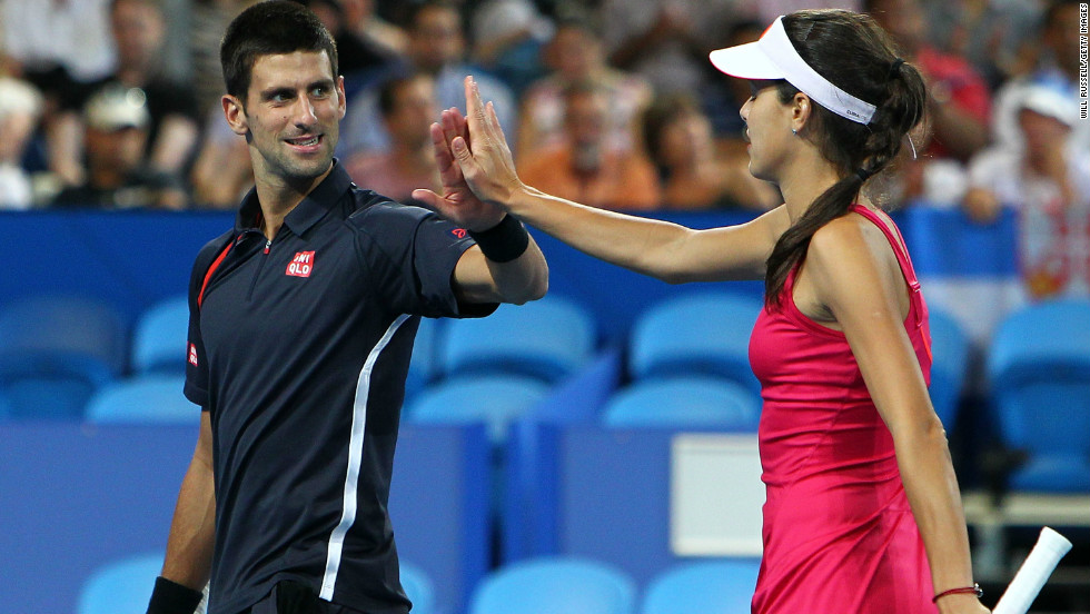Men's No. 1 Novak Djokovic, left, and Serbian playing partner Ana Ivanovic won through to the final of the Hopman Cup teams event in Perth, where they will play Spain's Fernando Verdasco and Anabel Medina Garrigues.