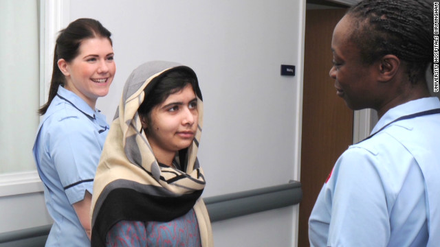 Malala Yousafzai walks from hospital