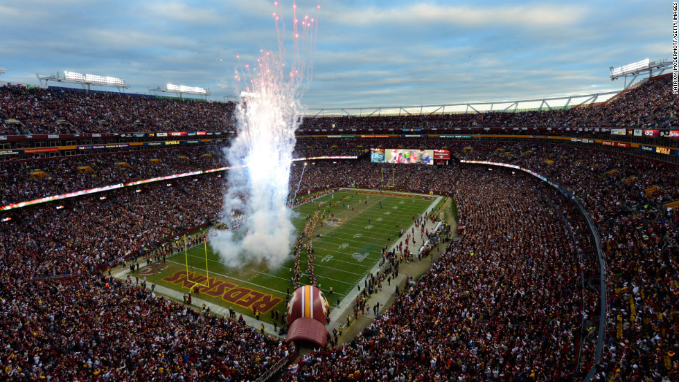 Fireworks are displayed as No. 10 Robert Griffin III of the Washington Redskins is introduced before the NFC Wild Card Playoff Game against the Seattle Seahawks on Sunday.