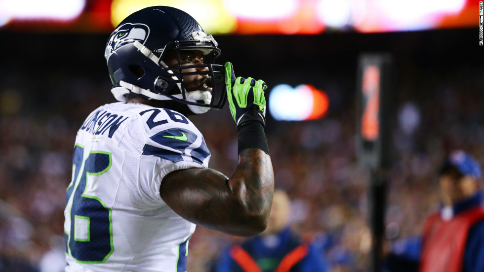 Michael Robinson of the Seattle Seahawks celebrates his second quarter touchdown on Sunday.