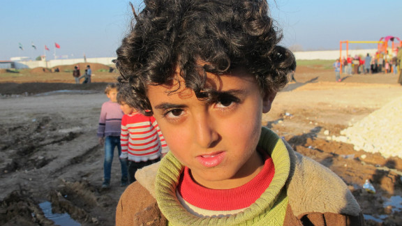 Nour, 8, from the town of Azaz, arrived a few days ago at the refugee camp.