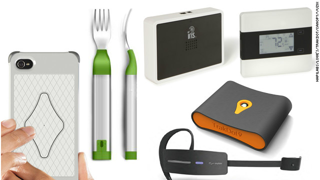 Clockwise from left: the Sensus iPhone case, the HAPIfork, the Iris system, the Trakdot and the Vuzix smart glasses.