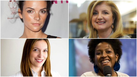 Some of the women who can brighten your Twitter feed: clockwise from top left: Kelly Oxford, Arianna Huffington, Ory Okolloh and Sloane Davidson