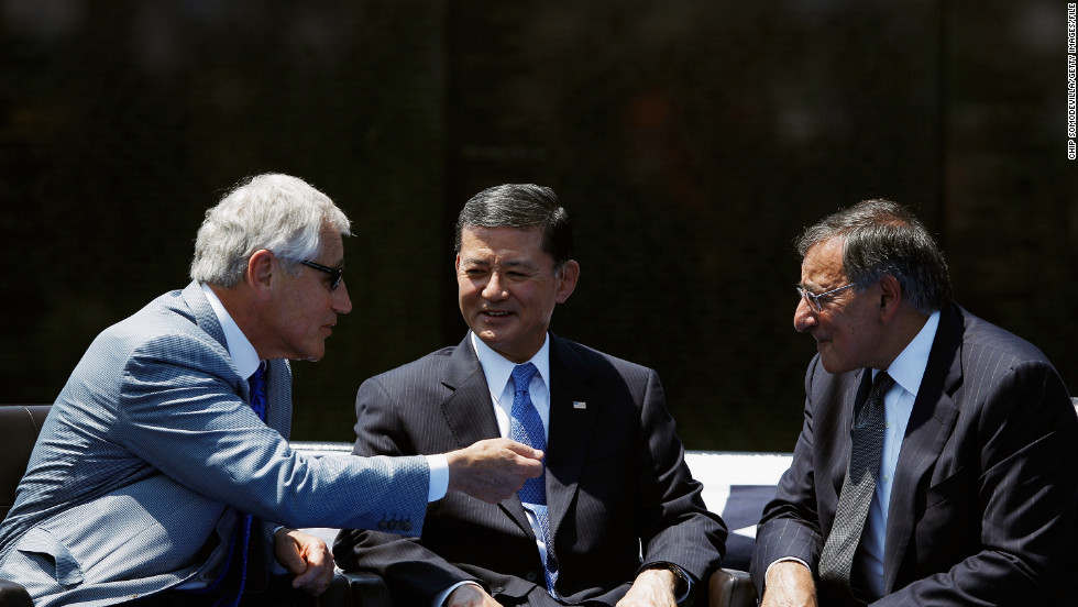 Hagel, from left, Veterans Affairs Secretary Eric Shinseki and Defense Secretary Leon Panetta attend a Memorial Day event at the Vietnam Veterans Memorial in Washington in May 2012.