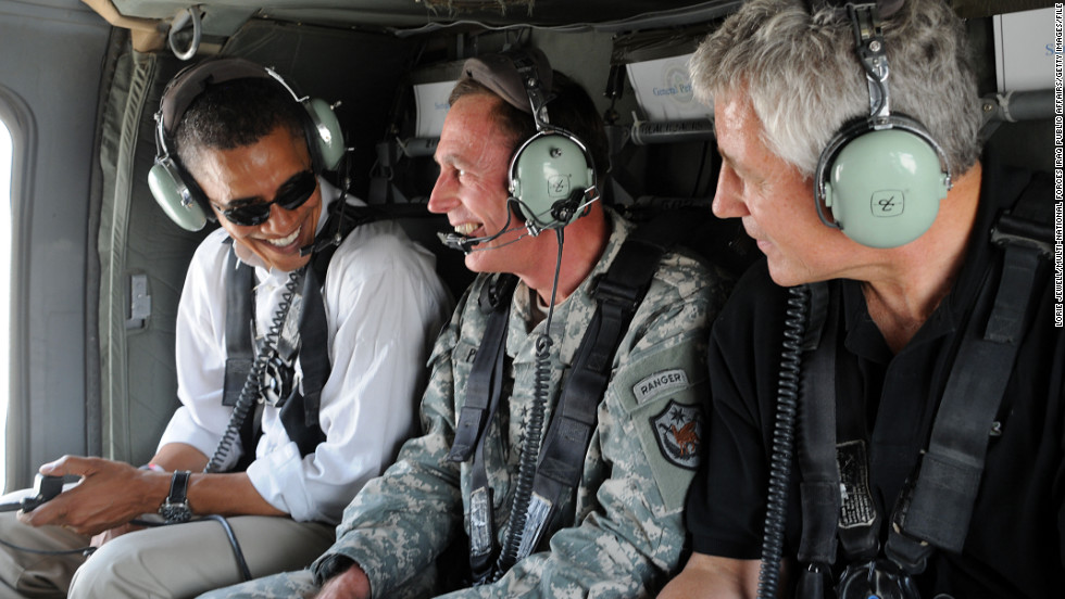 Gen. David Petraeus, center, flies with then-presidential candidate Barack Obama and Hagel on a July 2008 tour in Baghdad. Hagel joined Obama that year on his tour of parts of the Middle East.